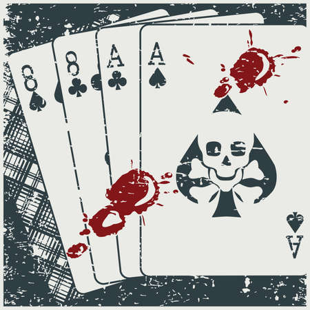 Vector illustration of a playing card combination called Dead Man Hand with blood stains on it in retro poster style  イラスト・ベクター素材