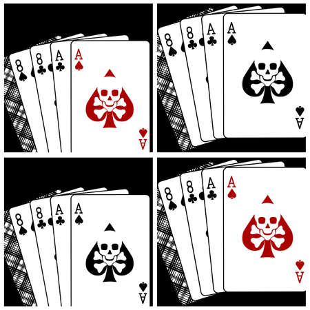 Vector illustration of a playing card combination called Dead Mans Hand