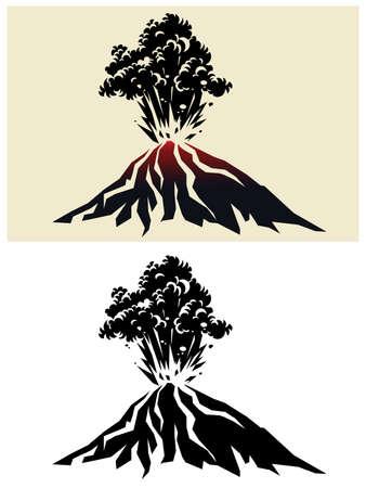 Illustration stylisée d'un puissant volcan en éruption avec des nuages noirs de fumée