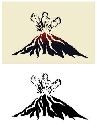 Stilisierte Illustration eines ausbrechenden Vulkans mit schwarzen Rauchwolken
