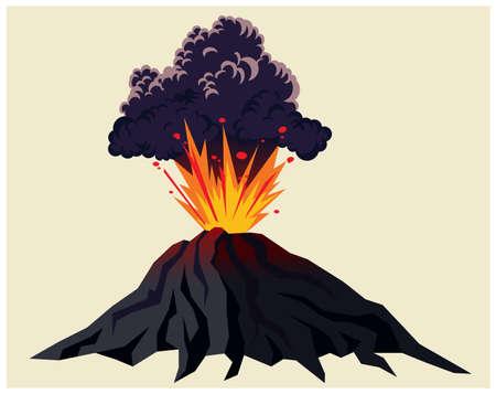 Ilustración estilizada de un poderoso volcán en erupción con nubes negras de humo Ilustración de vector