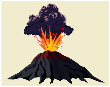 Stylized illustration of a powerful erupting volcano with black clouds of smoke