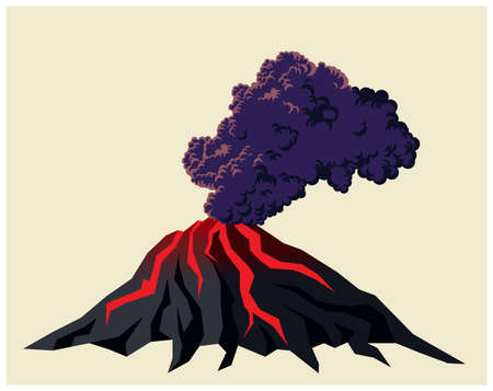 Stylized illustration of a smoking volcano with black clouds of smoke  イラスト・ベクター素材