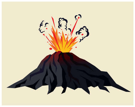 Stylized illustration of a erupting volcano with black clouds of smoke