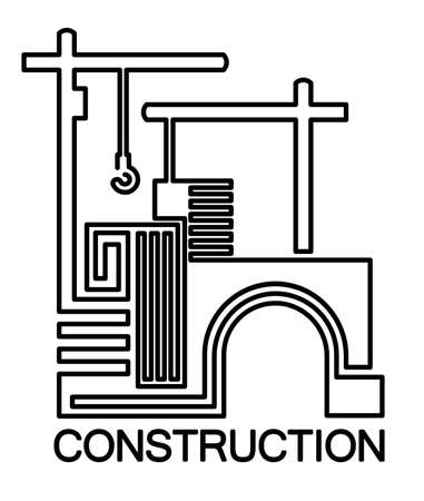 Stylized vector illustration on the theme of engineering and construction industry