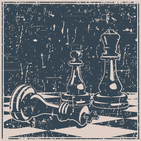 Stylized vector illustration on the theme of chess, intellectual games and conceptual illustrations of development strategies, teamwork, etc. Old poster style