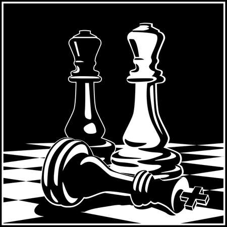 Stylized vector illustration on the theme of chess, intellectual games and conceptual illustrations of development strategies, teamwork, etc.