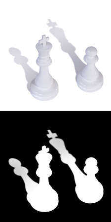 3D illustration of two chess pieces of a king and a pawn with inverted shadows. A mask is also attached to the illustration to quickly and easily select chess pieces with it shadows if needed. 写真素材