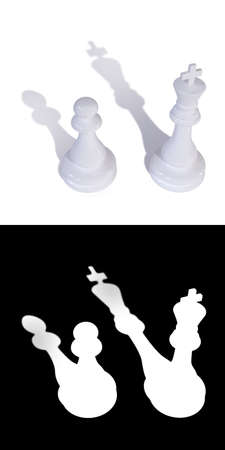 3D illustration of two chess pieces of a king and a pawn. A mask is also attached to the illustration to quickly and easily select chess pieces with it shadows if needed.