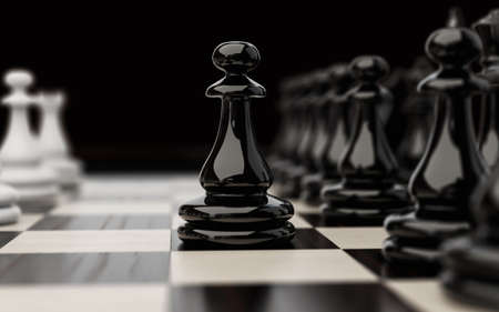 3D illustration on the subject of chess game. The first move with a black pawn is a close-up. Stok Fotoğraf