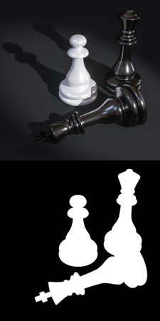 3D illustration of chess pieces on a dark background close-up with mask to accurately select objects if needed