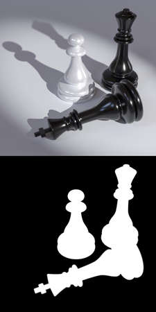 3D illustration of chess pieces on a white background close-up with mask to accurately select objects if needed