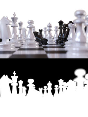 3D illustration on the theme of chess and intellectual games. Chess pieces during the game of chess extremely close up