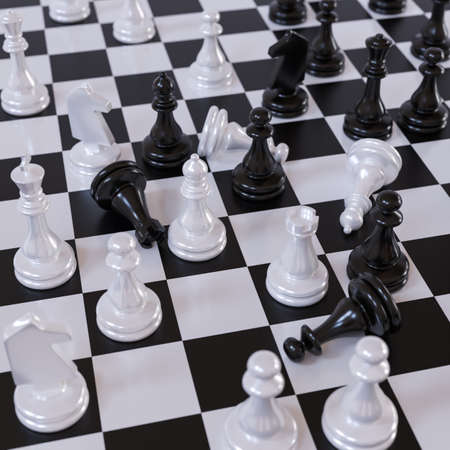 3D illustration on the theme of chess and intellectual games. Chessboard with figures close up