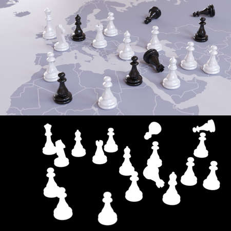 3D illustration on the theme of geopolitical, world order and wars for influence in the representation of a chess game