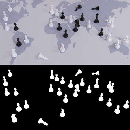 3D illustration on the theme of global geopolitical, world order and wars for influence in the representation of a chess game