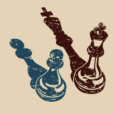 Stylized vector illustration of Two chess pieces of a king and a pawn in retro style  イラスト・ベクター素材