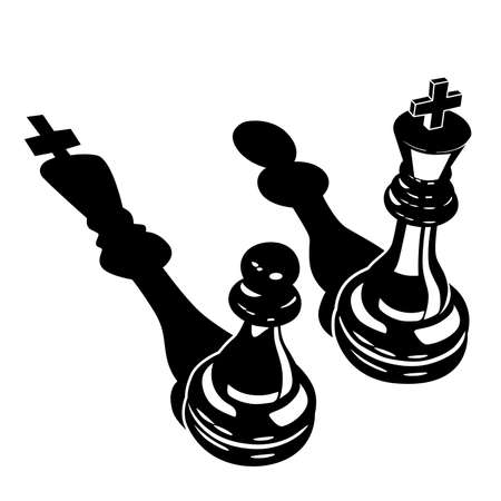 Stylized vector illustration of Two chess pieces of a king and a pawn with inverted shadows  イラスト・ベクター素材