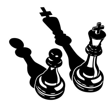 Stylized vector illustration of Two chess pieces of a king and a pawn.