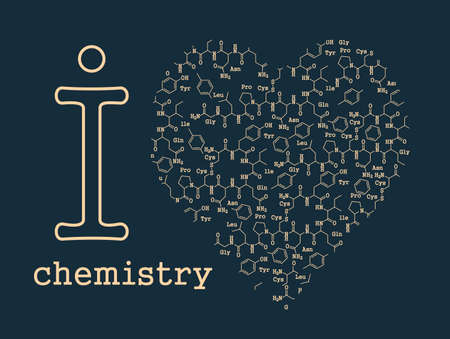 Stylized vector illustration on the theme of the love of chemistry