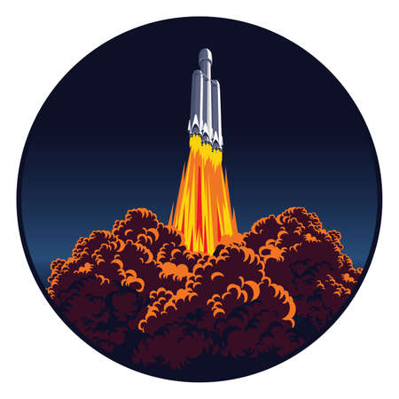 Stylized vector illustration of a spacecraft launch  イラスト・ベクター素材