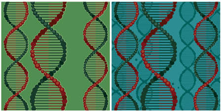Two stylized vector illustrations on the theme of genetics and DNA double helix