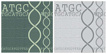 Stylized vector illustration of DNA chains on a background of DNA nucleobases Çizim