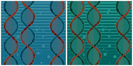 Stylized vector illustration of DNA chains. Seamless horizontally if needed