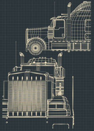 Stylized vector illustrations of drawings of a large truck.