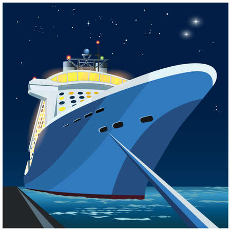 Stylized vector illustration of a large cruise ship at the pier at night time