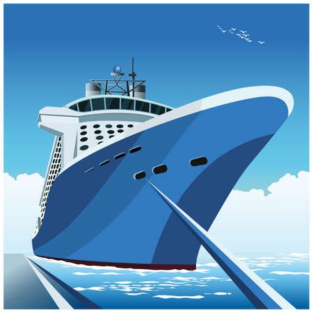Stylized vector illustration of a large cruise ship at the pier