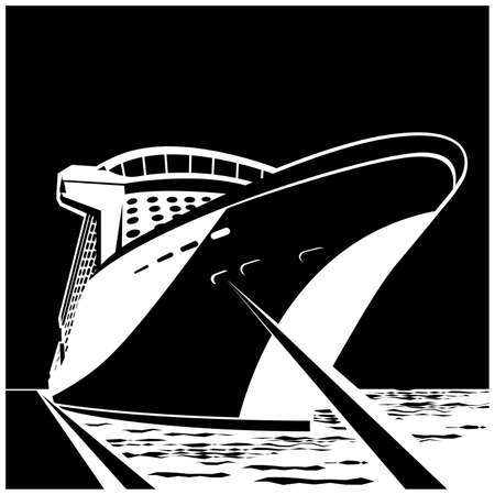 Stylized vector illustration of a huge cruise ship at the pier