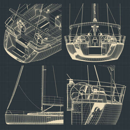 Stylized vector illustrations of drawings of different parts of a sailing yacht