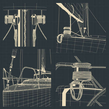Stylized vector illustrations of drawings of the bow and parts of the winch sailing yacht