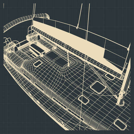 Stylized vector illustration of the hull of a sailing yacht