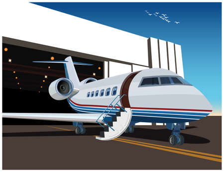 Stylized vector illustration on the theme of civil aviation. Airplane near the hangar