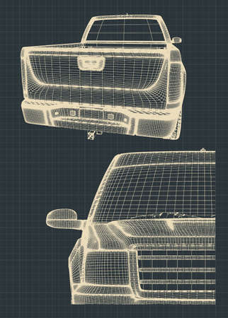 Stylized vector illustrations of drawings of a pickup truck Stock Photo