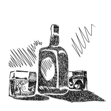 Stylized vector illustration of a sketch bottle of whiskey with glasses