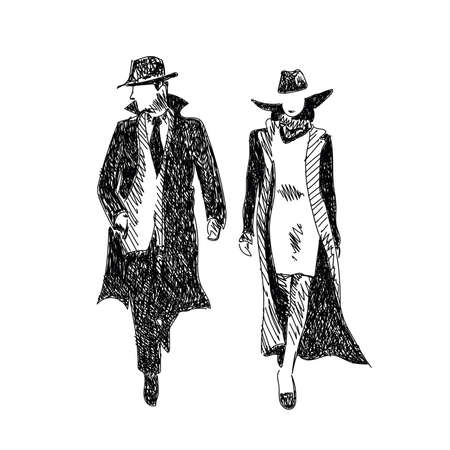 Stylized vector sketch stylish man and woman in raincoats and hats Çizim