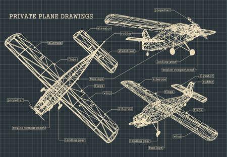 Stilisierte Darstellung von Zeichnungen eines leichten Privatflugzeugs