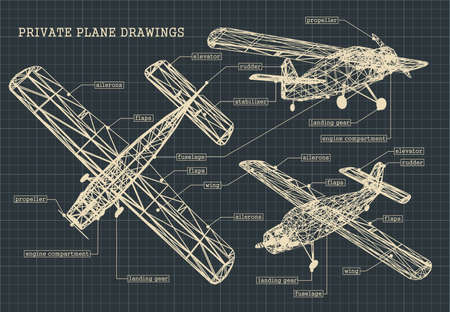 Stylized illustration of drawings of a light private plane