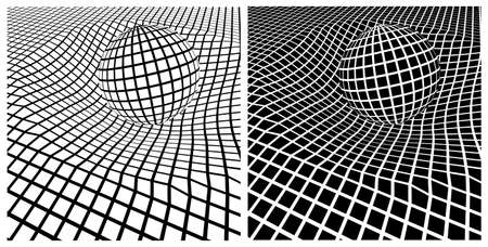 Abstract vector composition of geometric shapes and curved space at mesh view