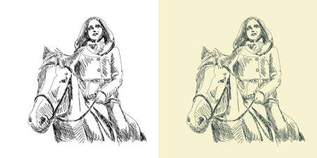 Stylized hand drawn vector illustration of a horsewoman riding a horse.