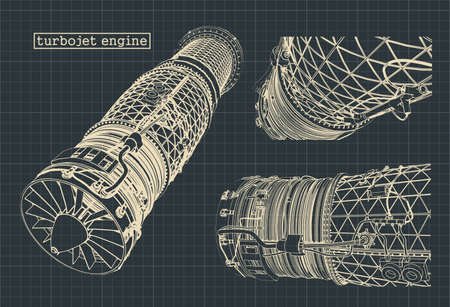 Stylized vector illustration of drawings of a turbojet engine