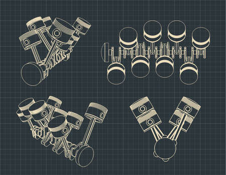 Stylized vector illustration of the drawings of a piston crank mechanism of an internal combustion engine