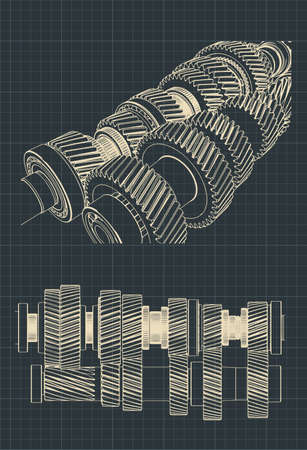 Stylized vector illustration of drawings of a mechanical gearbox