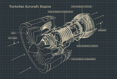 Disegni di illustrazione vettoriale stilizzato di un motore turbofan