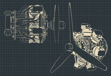 Stylized vector illustration of drawings of 7 cylinder radial engine