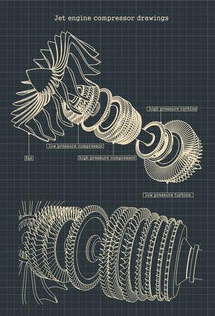 Ilustración vectorial estilizada de dibujos de un compresor de motor a reacción