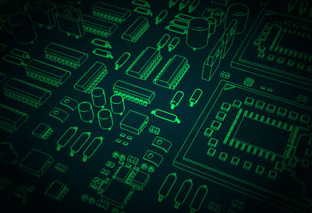 Stylized vector illustration of a motherboard and microelectronics on it closeup 일러스트